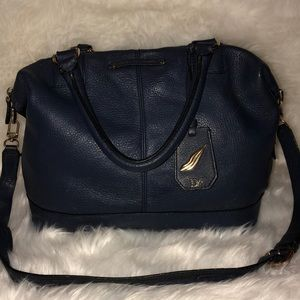 Large navy DVF satchel with strap